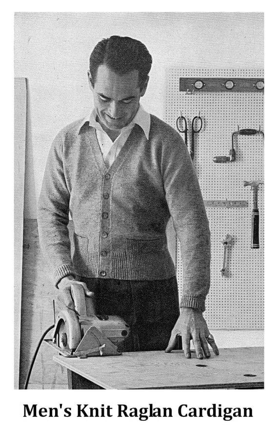 Knitting Pattern Mens Raglan Cardigan : Vintage Knitting Pattern Mens Raglan Cardigan Sweater Pattern