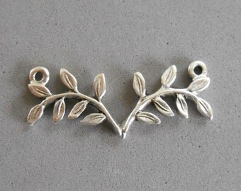 1 antique silver plated pewter fern, twigs, connector bar, Nunn Designs, 32 x 12mm, C5601