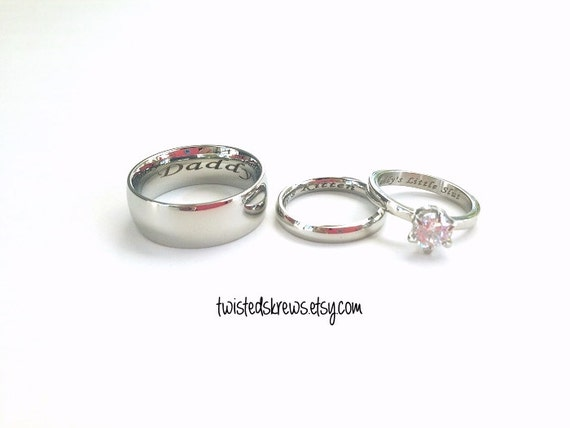 items similar to mature bdsm engraved couples 3 piece With bdsm wedding rings