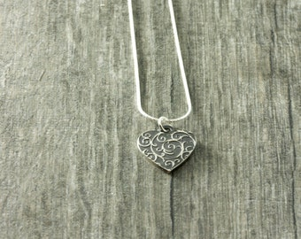 Silver Heart Necklace - Valentine - Heart Jewelry
