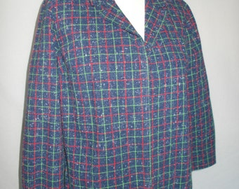 Vintage jacket 60s Checked Blue jacket size medium large