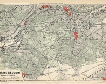 1910 Antique Map of Bois De Meudon, Paris France