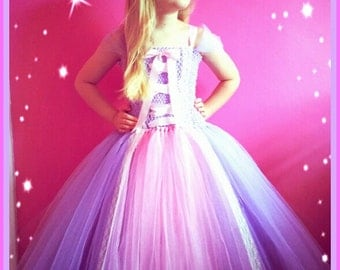 Rapunzel Inspired Handmade Tutu Dress - Birthday, Party, Photo Prop, Pageant,Fancy Dress,Princess
