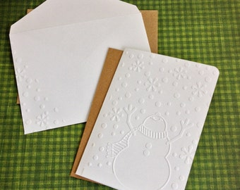 Merry Christmas Happy Snowman Cards and Envelopes, Embossed Holiday Cards Snowflake Envelopes, White Kraft Paper cards A2 Set Blank Handmade