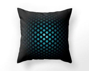 PILLOW case, modern throw pillow cover, cyan sci-fi cushion cover, man cave, science fiction black blue cushion