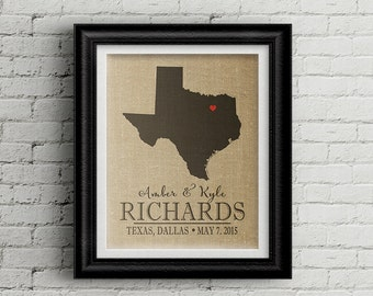Personalized Map Art, Custom Map Art, Map Artwork, Texas map art, TEXAS State Art, Anniversary gift map, Burlap Map