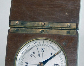 Genuine Vintage Brass Compass in Wood Housing -- Free Shipping