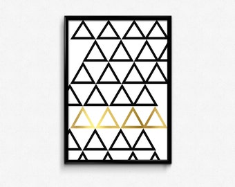 Geometric Triangle Art, Geometric Print, Triangle Print,Faux Gold Foil Print, Black and White Triangle, Geometric Triangle, Minimalist Print