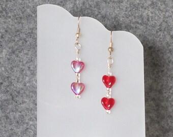 Double Little Red Heart Earring