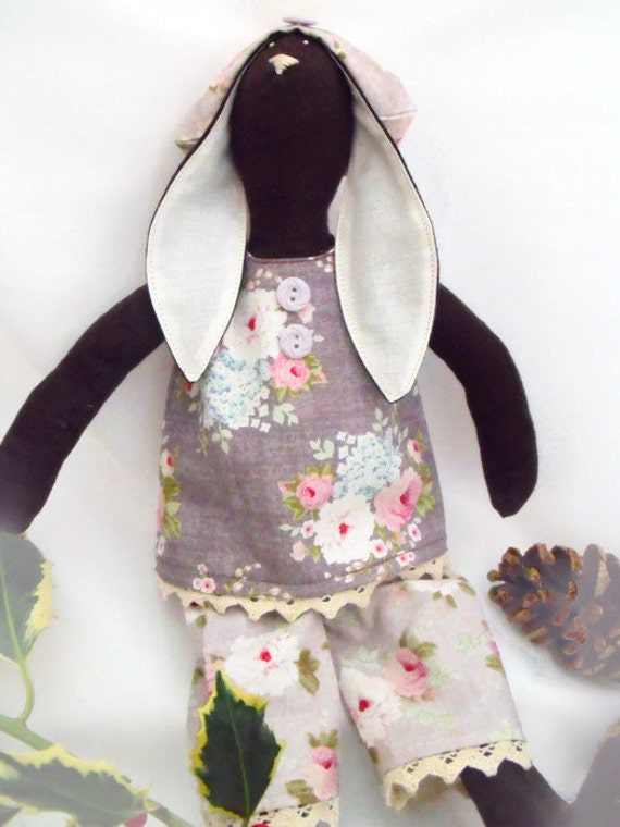 "brown Tilda bunny, plush rag doll, rabbit doll, collectable doll wearing a grey floral outfit, home or nursery decor 14"" tall"