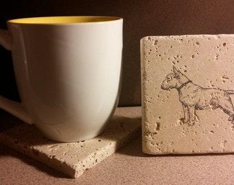 Set of 4 Bull Terrier Tumbled Stone Coasters