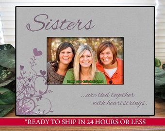 Gray/Lavender Sisters Birthday Gift Picture Frame, Gift for Sisters, Sisters Photo Frame, Sister Gift, 4x6, 5x7