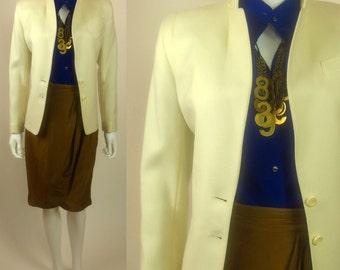 70s Winter White Classic tailored virgin wool jacket