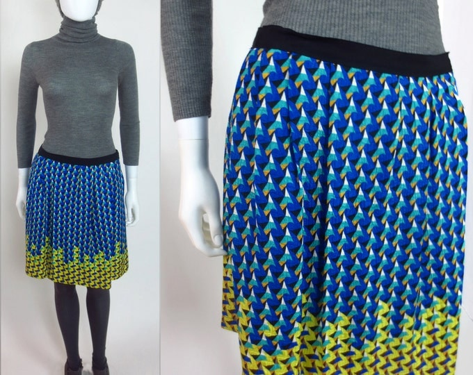 90s Marc Jacobs geometric border print silk pleated skirt