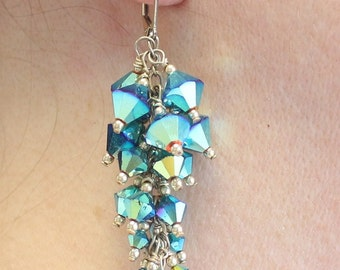 Teal Crystal Necklace & Earring Set