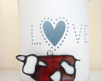 stained glass cow made for hanging
