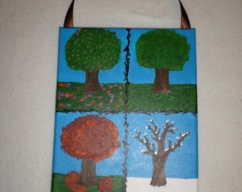 Seasons Painting - Four Seasons - 8x10 Painting - Winter Painting - Fall Painting - Summer Painting - Spring Painting