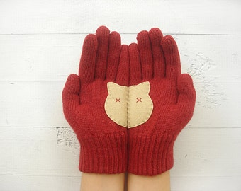 CHRISTMAS GIFT, EXPRESS Shipping, Cat Gloves, Cats, Deep Red, Special Gift, Gift For Her, Cat Lovers, Gift For Mom, Xmas Gift Idea, Kittens