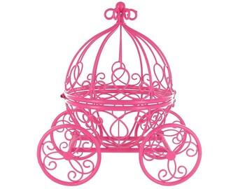 LARGE / cinderella's pumpkin carriage / wedding / party / birthday / tea party / centerpiece / carriage box / metal / gold
