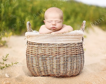 Newborn Baby Photography Digital Backdrop Beach Basket Scene