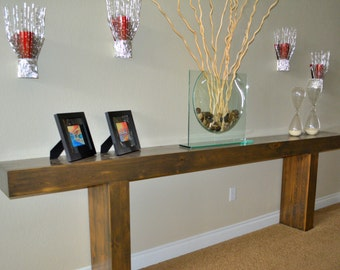 Dramatic Solid Wood Entryway Table.  Reclaimed glulam.  Oak dowels.  Rustic modern design.