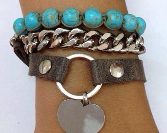 Leather Bracelet, Turquoise Wrap Bracelet, Turquoise Bracelet, Leather Wrap Bracelet, Beaded Bracelet with Brown Leather Cord, gift for her
