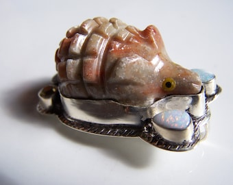 Crazy cool Hedgehog Pendant with Sterling and Opal  45x30mm