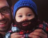 Crochet Hat w/ Beard, Just like Dad!, Warm Beanie, or Photo Prop