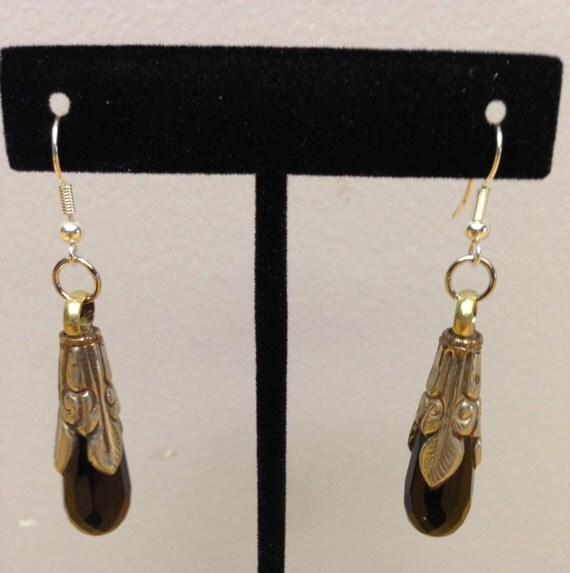Earrings Silver Tibetan Handmade Black Onyx Dangle Etched Silver Teardrop Jewelry Black Onyx Tibet Unique Statement