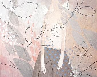Original Painting-Seminude Figure-Sprigs-Delicate Balance-Pink-Gray-Pastel Colors