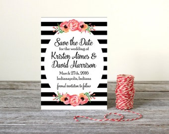 Floral with Stripes Save the Date - Printable Digital - Pink, Black & White - 5 x 7 Card