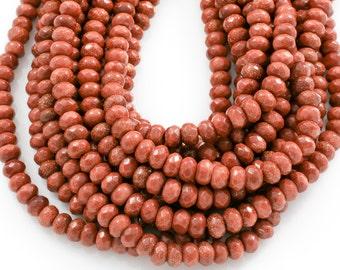 Goldstone Gold Sandstone Faceted Rondelle Beads. Full strand 6mm, 8mm, 10mm, or 12mm.