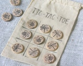 Tic Tac Toe Game - Hand Stamped Wood Pieces - Gifts under 20 - Gift Ideas for Kids! - Unique Game - Fun Game