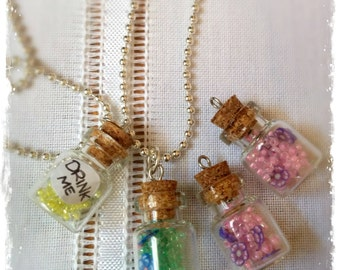 Polymer Clay little bottles Necklaces