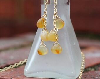 Apple Jade Wire Wrapped Teardrop Briolette Dangle Earrings in Satin Gold