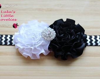 Black & White Headband Double Flower with Rhinestone Center on your choice elastic or clip Newborn - Adult Photoshoot Birthday Wedding
