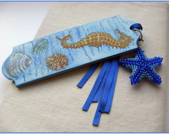 BLUE LAGOON *Bookmark *Gorgeous decoupage bookmark with beaded starfish and ribbons