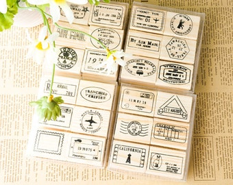 Postmark Stamp Set -- Wooden Rubber Stamps -- Korean Stamps -- Diary Stamps --4 Style can be chosen