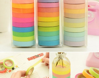 Cute rainbow color Japanese Angoo Masking Tape series- 7.5mm wide ,can write, can be shredded easily,10 colors set, 7.5mm*5m