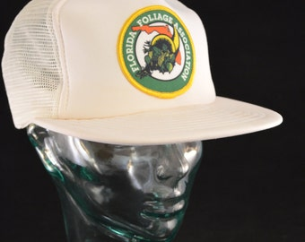 Retro White FLORIDA FOLIAGE ASSOCIATION Snapback Baseball Cap Hat (One Size Fits All)