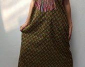 Boho Olive Green long cotton Dress..Sundress in small floral design with gold color beads and colorful thread embroidery (DS-168)