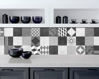 portugais carreaux motif v2 48 stickers pour carrelage. Black Bedroom Furniture Sets. Home Design Ideas