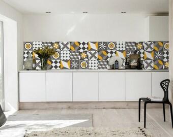 Vintage - Geometric Tiles - Tile Stickers - Tiles Decals - Tiles for Kitchen - Backsplash - Tiles for Bathroom - PACK of 36 - SKU:VTGE