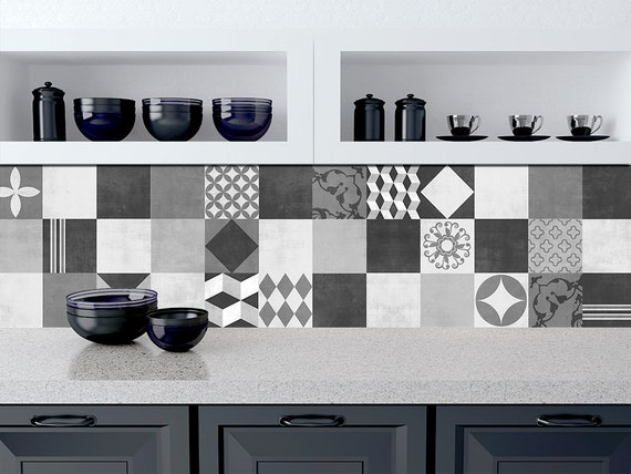 kitchen decals for backsplash geometric graphite tile stickers kitchen backsplash tiles 19409