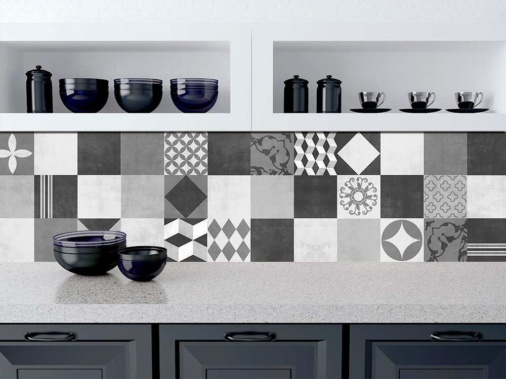 tile stickers for kitchen geometric graphite tile stickers kitchen backsplash tiles 6184