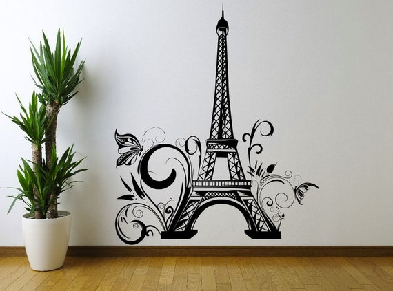 Eiffel tower paris flowers floral wall art sticker decal mural - Stickers muraux paris ...