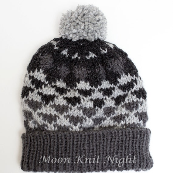 Fair Isle Knit Hat Handknit Beanie Geometric Knit Hat