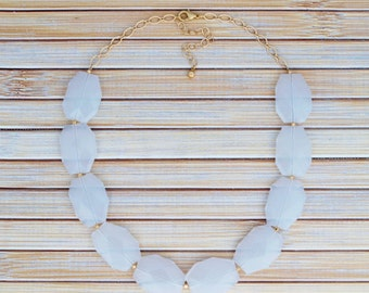 White Bib Statement Necklace - Fashion Jewelry Necklace- Beaded Chunky Necklace- Faux Gemstone Bead Necklace- Neutral Necklace- Gift for Her
