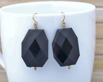 Jet Black Faceted Drop Earrings, Black Statement Earrings, Fashion Dangle Earrings, Chunky Bold Earrings, Large Bead Earrings, Gift for Her