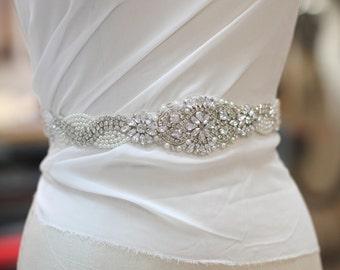 rhinestone and pearl sash